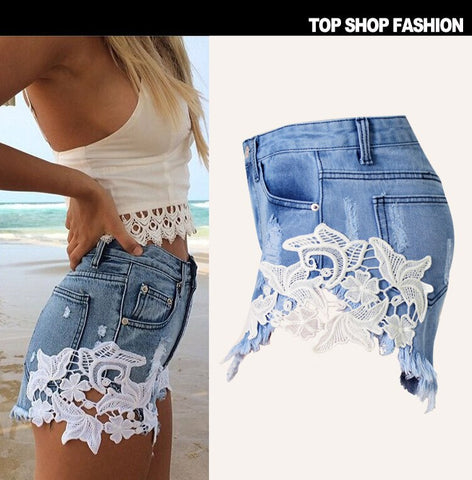 Lace Hole Tassel Casual Denim Sexy Boho Bohemian Shorts