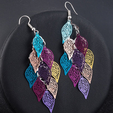 Seven-color small nine Leaves Earring Boho Bohemian Accessories