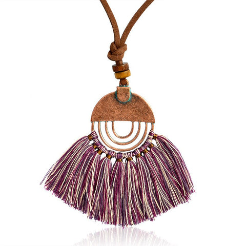 Ethnic Long tassels pendant Necklace Boho Bohemian Accessories