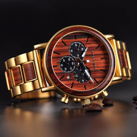 Metal Chronograph Date Display Wood Watches