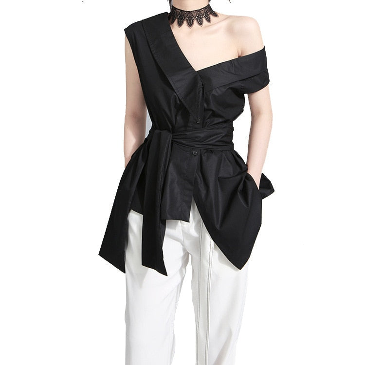 Bandage Bow Asymmetrical Skew Collar Short Sleeve Loose Fit Shirt Blouse