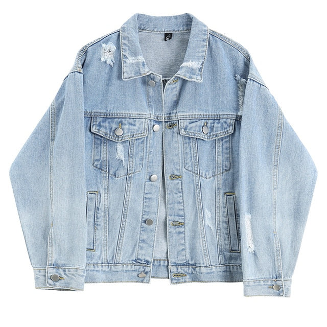 Lapel Long Sleeve Blue Holes Pocket Stitch Loose Denim Jackets
