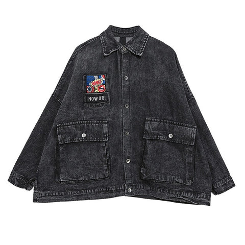 Loose Fit Black Big Pocket Split Lapel Long Sleeve Denim Jackets