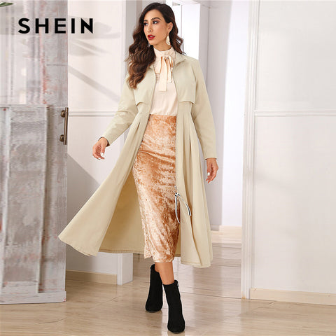 Khaki Zip Up Flared Pleated Hem Trench Coat