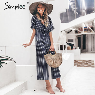 Vintage striped v neck long sashes short sleeve Elegant wide leg jumpsuit