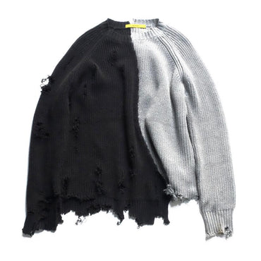 ripped hole patchwork oversized knitted sweater