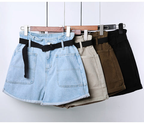 Belt Loose With Pockets Casual Short Denim