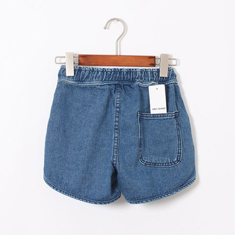 Casual Blue Mid Elastic Waist Loose Short Denim