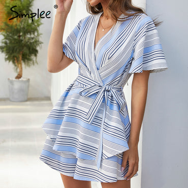 Sexy v-neck Striped ruffled backless sash chic Rompers