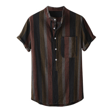 Strip Print Stand Collar Linen Short Sleeve Shirts