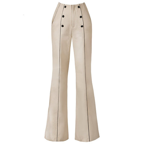 Elegant High Waist Double Breasted Pocket Wide Leg Pants