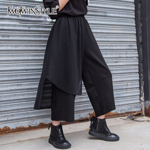 Black Mesh Wide Leg High Elastic Waist Large Patchwork Pants