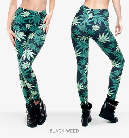Full Length Weeds Graphic Printing Legging