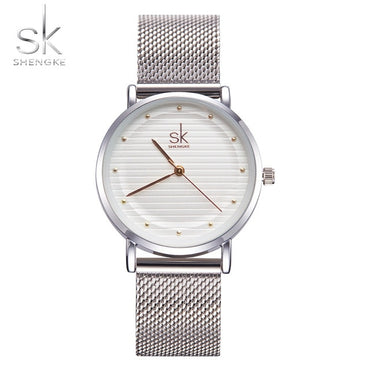 Texture Casual Dress Luxury Sliver Rhinestone Waterproof Watches