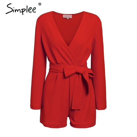 Vintage long sleeve sashes red casual solid Rompers