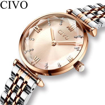 Luxury Crystal Waterproof Rose Gold Steel Strap Wrist Watches