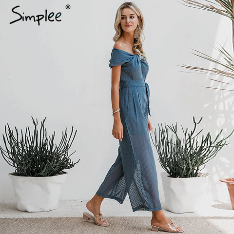 Elegant off shoulder Solid sashes jumpsuit