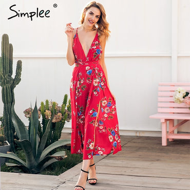 Sexy v neck backless print jumpsuit