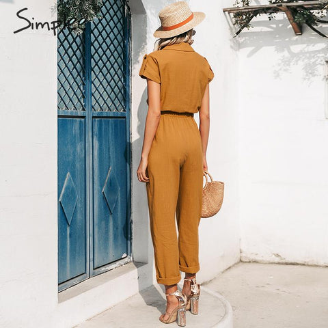 Casual cargo cotton Sashes orange pocket sports jumpsuit