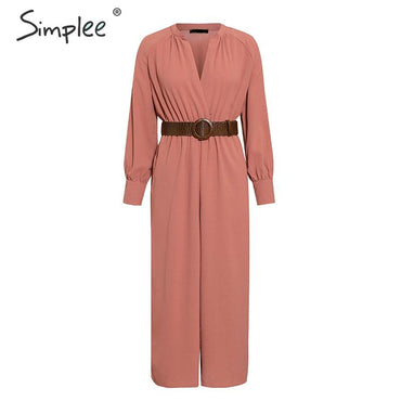 Elegant v neck long sleeve Sashes pocket loose casual jumpsuits