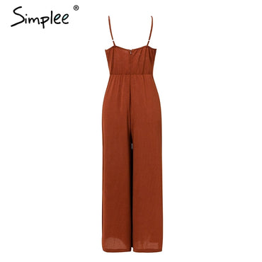 Bow tie adjustable Elegant solid Chic wide leg casual sexy jumpsuit