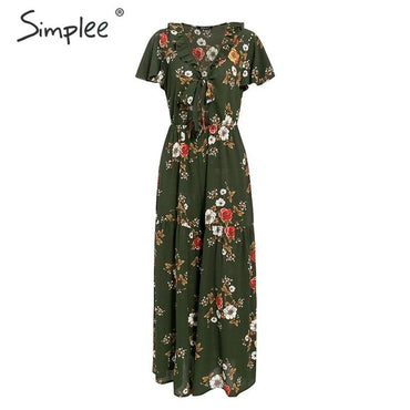 Deep v neck floral print Ruffle bow tie high waist jumpsuit