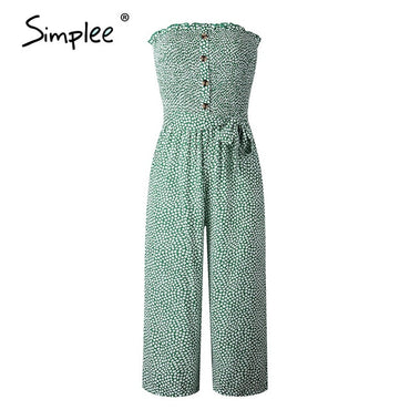 Strapless floral print High waist bow tie cotton jumpsuit