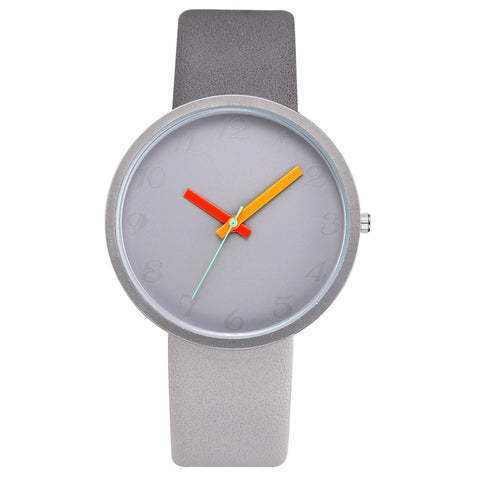 Gray Contrast Leather Quartz Watch