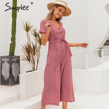 Boho polka dot V neck short sleeve sashes jumpsuit