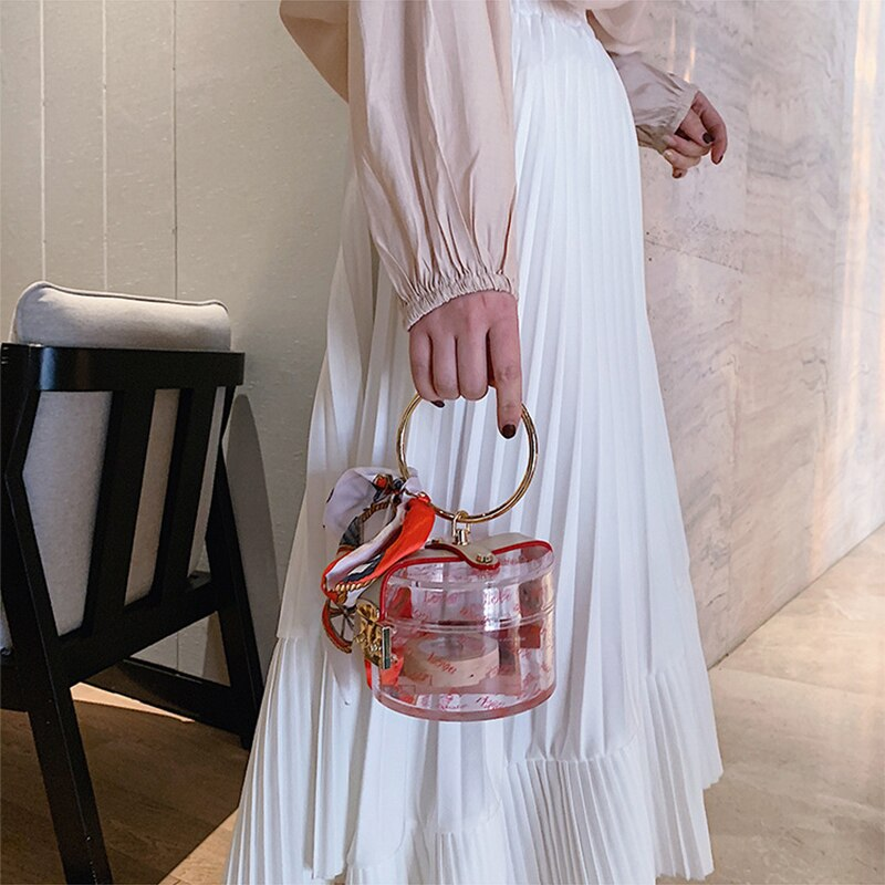 Casual Wild Creative Transparent Ladies Bag PVC Small Round Handbags