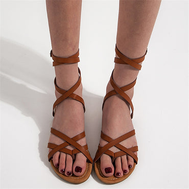 retro brown black casual flat sandals
