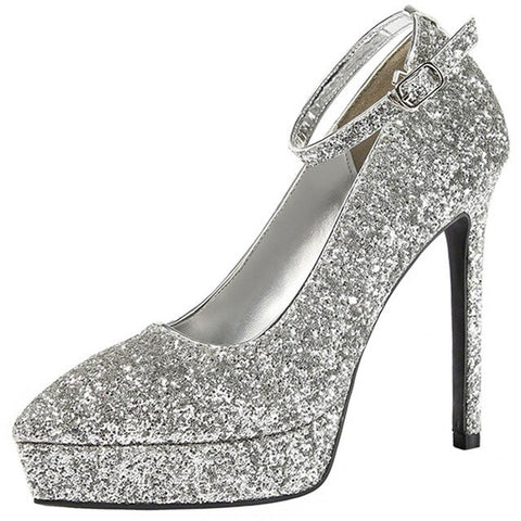 Sequined Cloth Thin Bling Pumps Buckle Strap High Heels