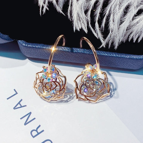 Zircon Flower Dangle Earring