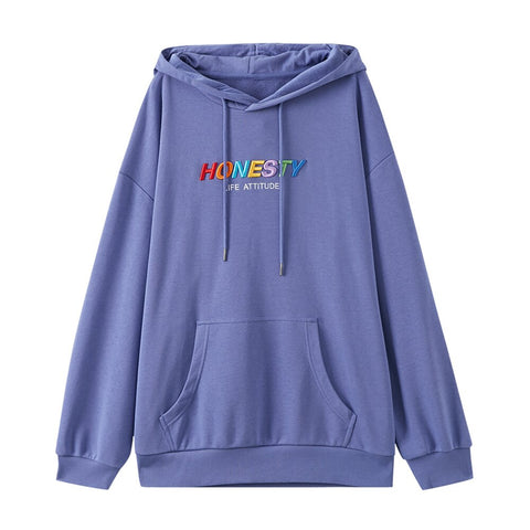Casual Oversize Colorful embroidery print Women Hoodies