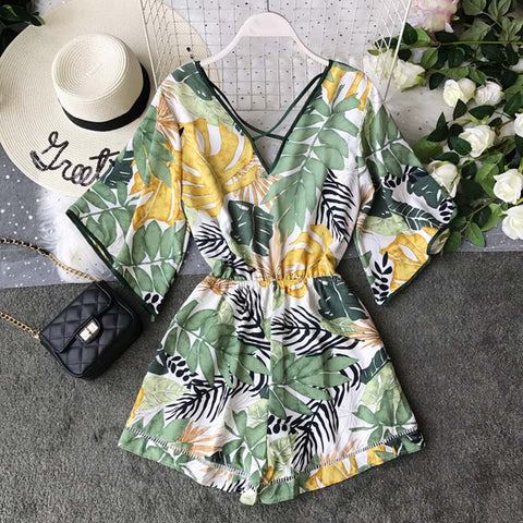 V Neck Backless Sexy Chiffon Tunic Floral Print Boho Bohemian Rompers