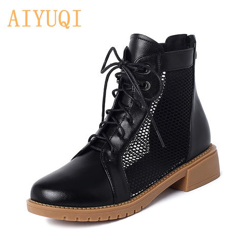 Genuine Leather Net Boots
