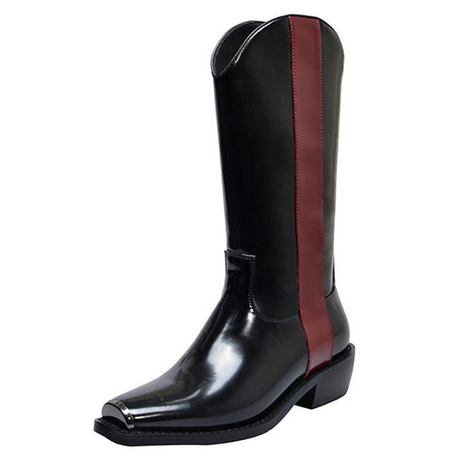 Mid-Calf Square Toe Genuine Leather Motorcycle Boots