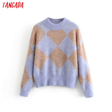 geometric oversize knitted long sleeve vintage sweaters