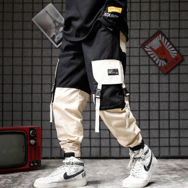 Slim Fit Urban Style Hip Hop Patchwork Pocket Cuffed Joggers Pants