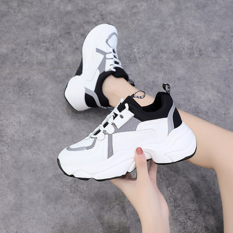 Thick Bottom Breathable Waterproof Platform Lace Leisure Shoes
