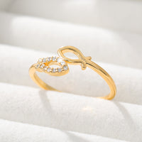 Adjustable Gold Sliver Stainless Steel Zircon Shine Love Heart Ring