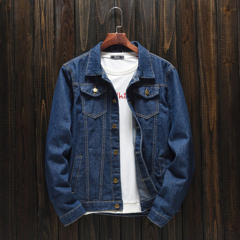 Casual Long Sleeve Turn-down Collar Solid Denim Jacket