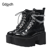 Patent Leather Gothic Black Boots