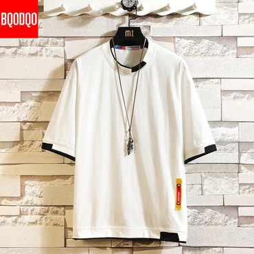 Short Sleeve Hip Hop Cotton O-neck Causal Loose Knitted T shirts