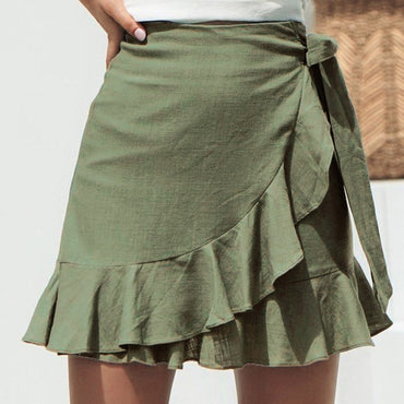 Sexy Solid Ruffles Bandage Lace Up Short Skirt