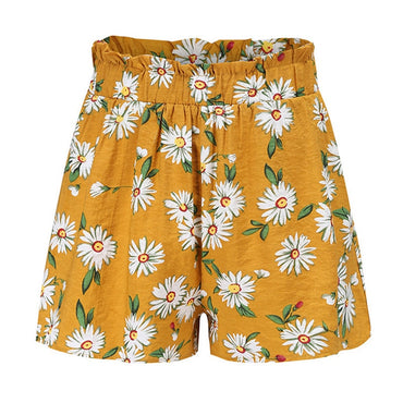 Sunflower Tropical Print Belted Boho Bohemian Shorts