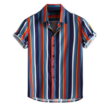 Breathable Stripe Loose Buttons Casual Short Sleeve Shirts