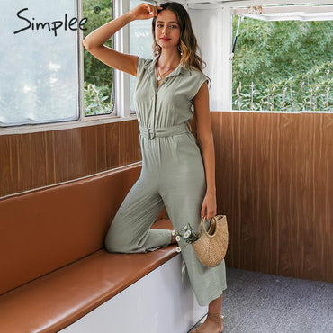 V-neck Elegant sash belt Casual solid jumpsuit