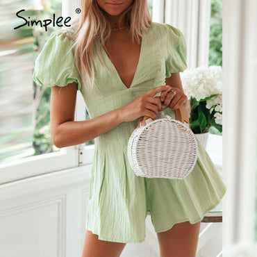Sexy v neck green buttons cotton rompers
