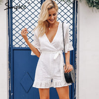 Sexy deep v-neck Ruffled embroidery cotton white Rompers